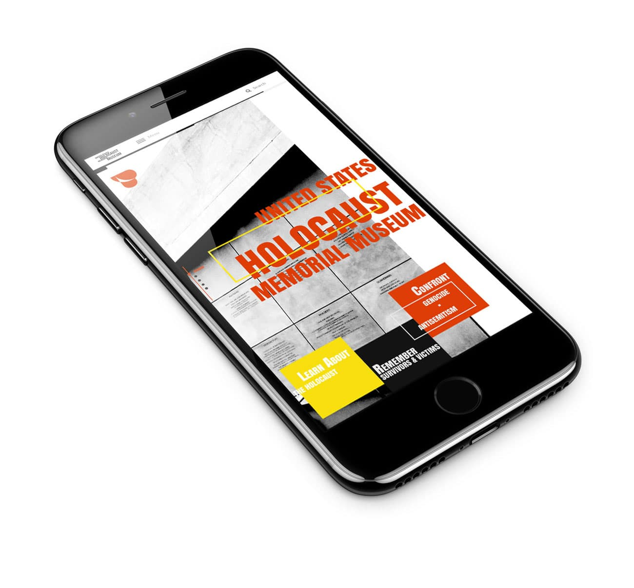 USHMM front website page design on iPhone 7