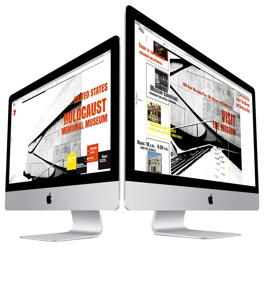 USHMM front website page sections on iMac