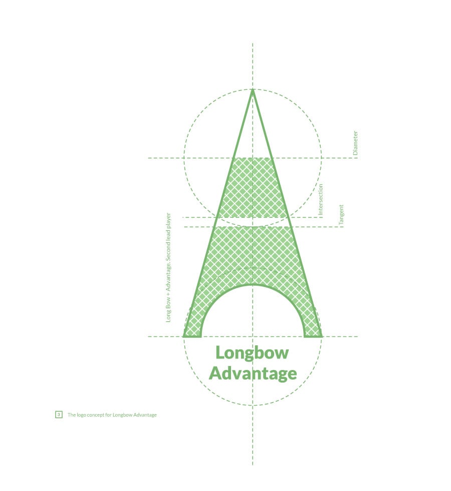 Eident associations with The Eiffel Tower. Longbow Advantage logo concept