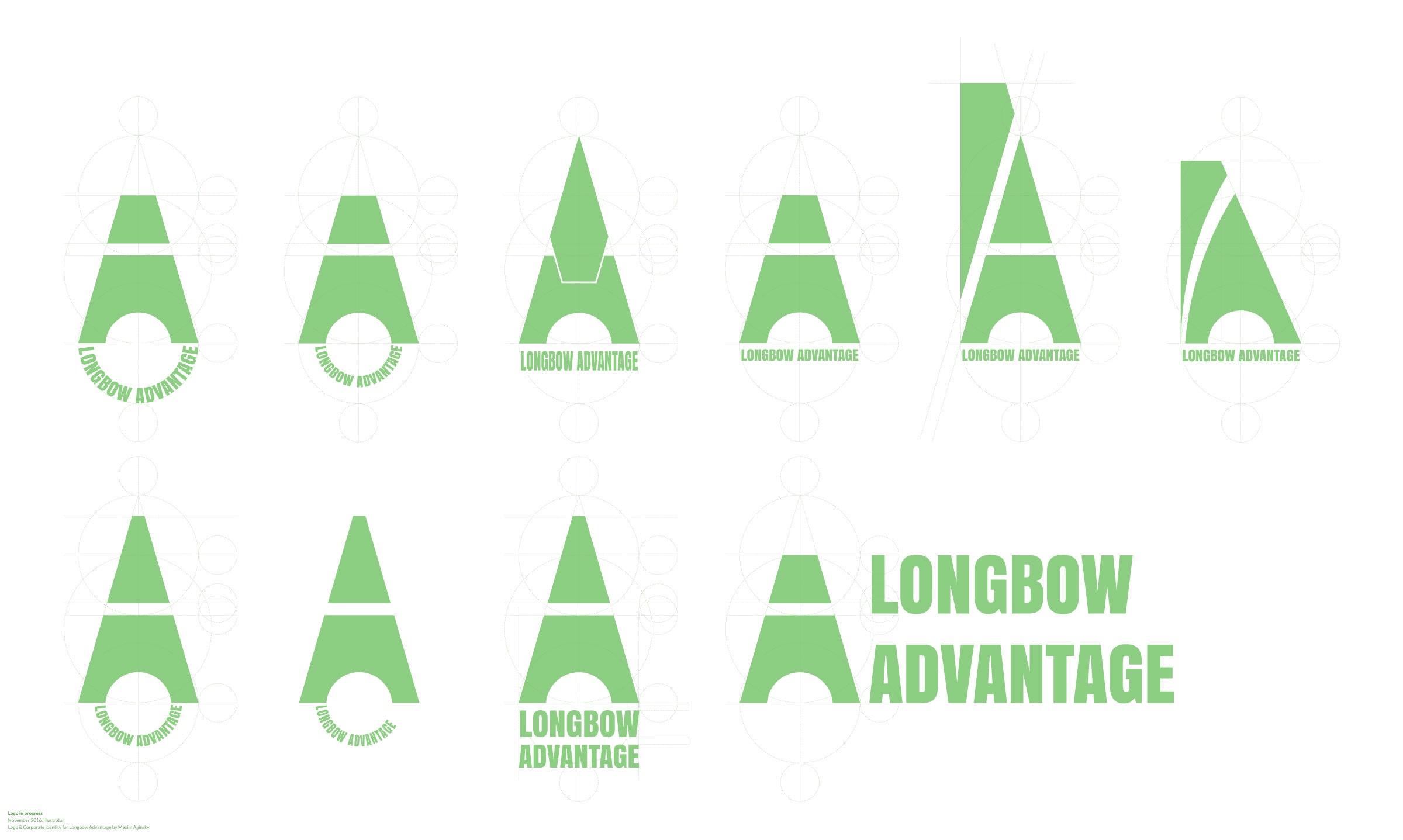 Longbow Advantage logo in progress examples